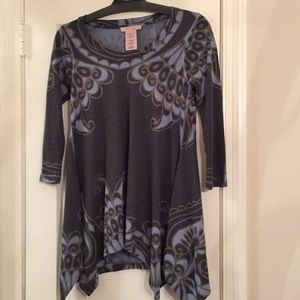 Philosophy Tunic Top/Dress Paisley Gray/ Blue Sz S